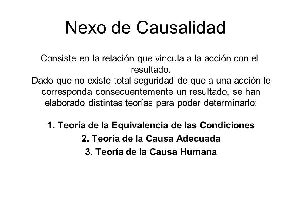 Nexo de Causalidad Consiste en la relación que vincula a la acción con el resultado. Dado que no existe total seguridad de que a una acción le corresp