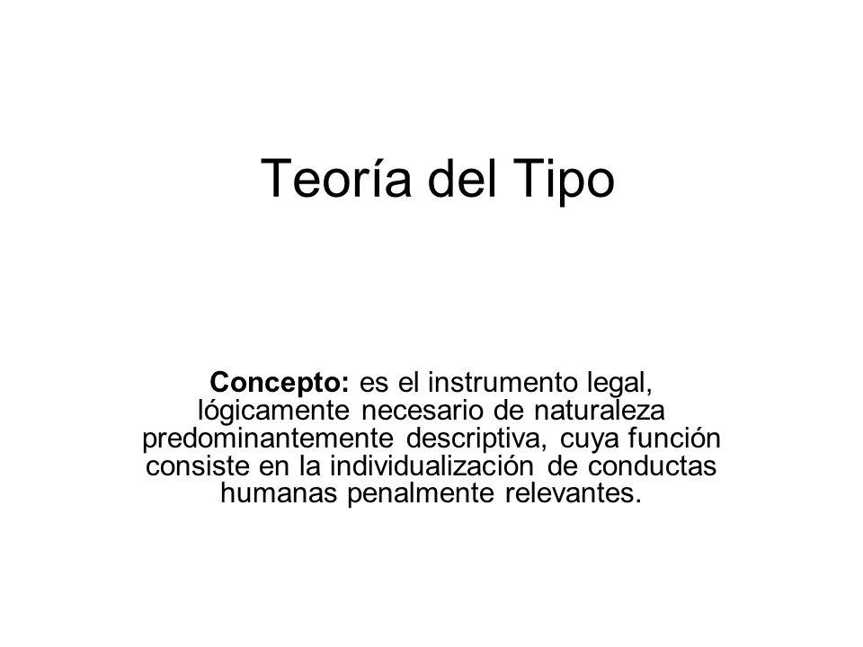 Teoría del Tipo Concepto: es el instrumento legal, lógicamente necesario de naturaleza predominantemente descriptiva, cuya función consiste en la indi