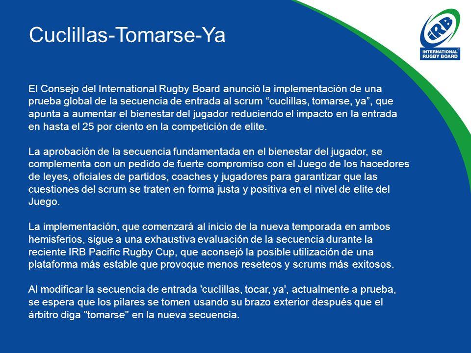 Cuclillas-Tomarse-Ya El Consejo del International Rugby Board anunció la implementación de una prueba global de la secuencia de entrada al scrum cuclillas, tomarse, ya, que apunta a aumentar el bienestar del jugador reduciendo el impacto en la entrada en hasta el 25 por ciento en la competición de elite.