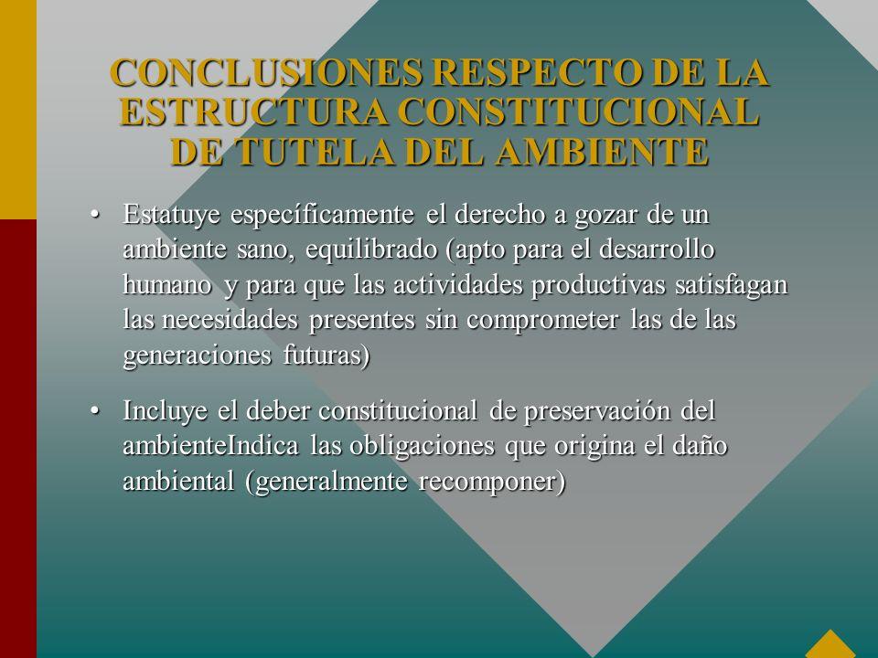 Estatuye específicamente el derecho a gozar de un ambiente sano, equilibrado (apto para el desarrollo humano y para que las actividades productivas sa