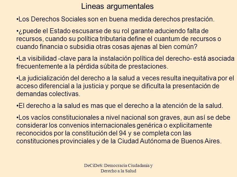 DeCiDeS: Democracia Ciudadanía y Derecho a la Salud Los Derechos Sociales son en buena medida derechos prestación. ¿puede el Estado escusarse de su ro