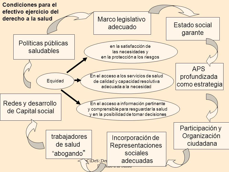 DeCiDeS: Democracia Ciudadanía y Derecho a la Salud en la satisfacción de las necesidades y en la protección a los riesgos En el acceso a los servicio