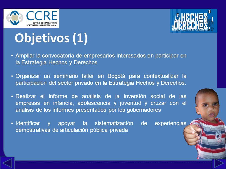 Objetivos (2) Proponer un reconocimiento (premio) para los empresarios Conformar un grupo consultivo de líderes del sector privado y de la infancia, adolescencia y juventud para avanzar en la formulación del Plan de Acción del sector privado en la Estrategia Hechos y Derechos.