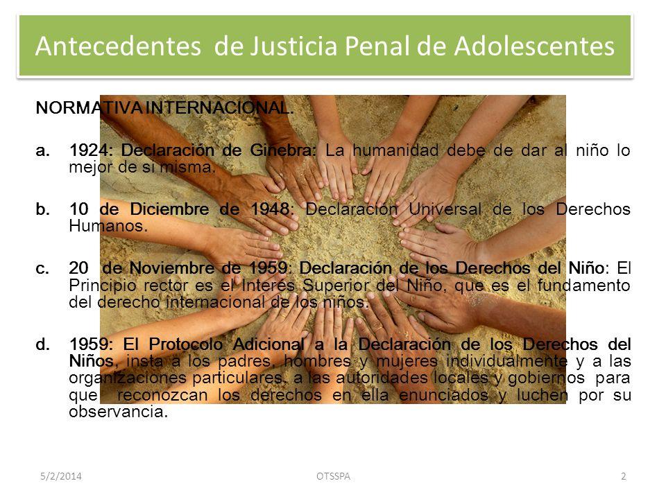 Antecedentes de Justicia Penal de Adolescentes NORMATIVA INTERNACIONAL.