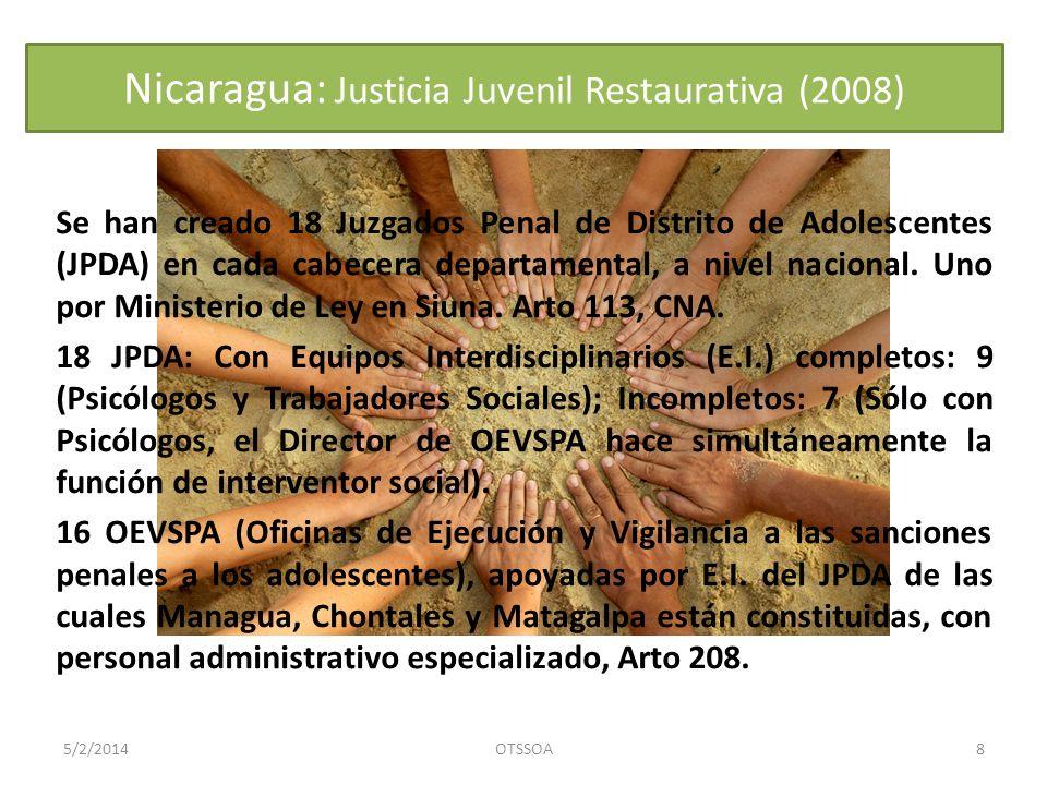 Nicaragua: Justicia Juvenil Restaurativa (2008) Se han creado 18 Juzgados Penal de Distrito de Adolescentes (JPDA) en cada cabecera departamental, a nivel nacional.