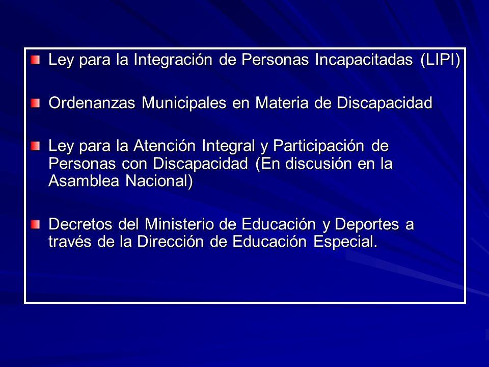 Ley para la Integración de Personas Incapacitadas (LIPI) Ordenanzas Municipales en Materia de Discapacidad Ley para la Atención Integral y Participaci