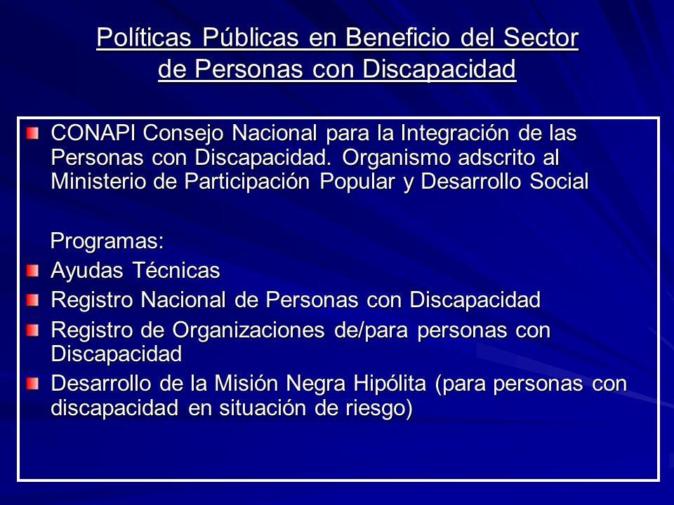 Políticas Públicas en Beneficio del Sector de Personas con Discapacidad CONAPI Consejo Nacional para la Integración de las Personas con Discapacidad.
