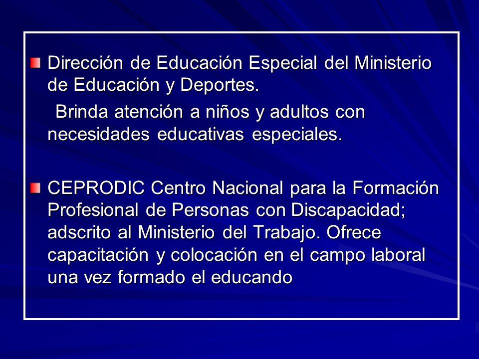 Dirección de Educación Especial del Ministerio de Educación y Deportes. Brinda atención a niños y adultos con necesidades educativas especiales. Brind