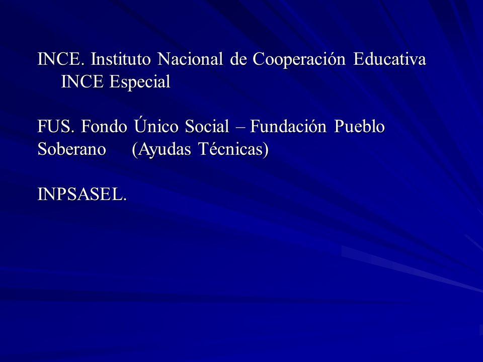INCE. Instituto Nacional de Cooperación Educativa INCE Especial INCE Especial FUS. Fondo Único Social – Fundación Pueblo Soberano (Ayudas Técnicas) IN