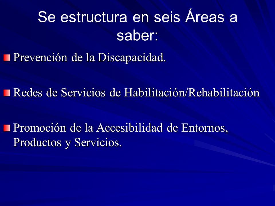Se estructura en seis Áreas a saber: Prevención de la Discapacidad. Redes de Servicios de Habilitación/Rehabilitación Promoción de la Accesibilidad de