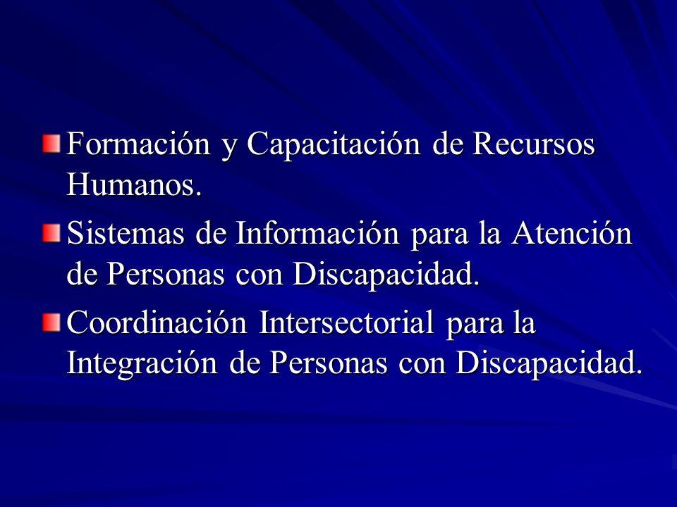 Formación y Capacitación de Recursos Humanos. Sistemas de Información para la Atención de Personas con Discapacidad. Coordinación Intersectorial para