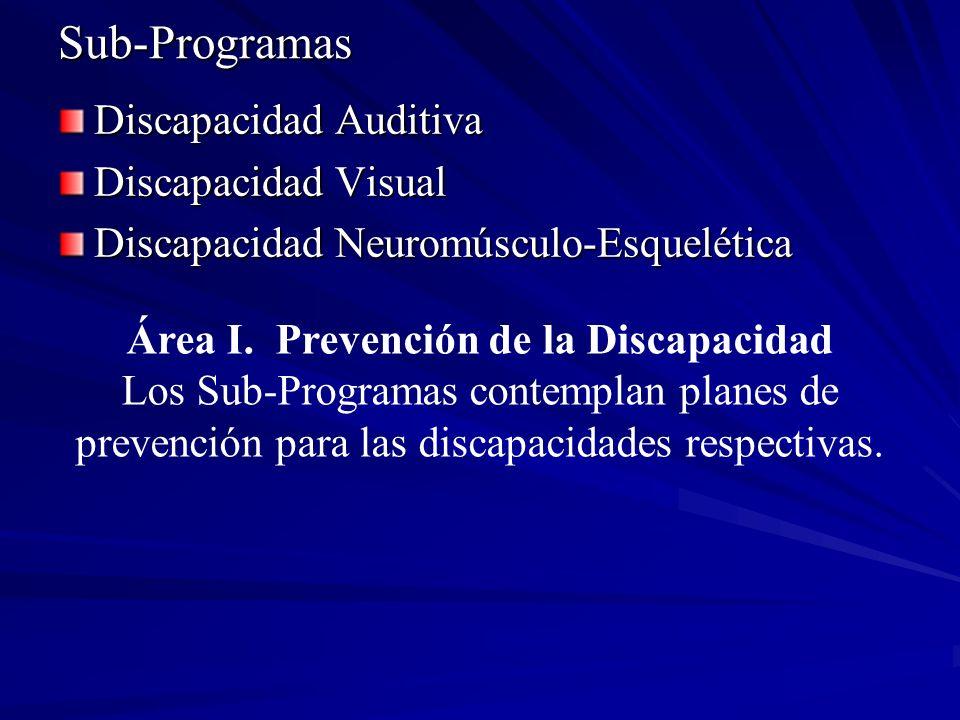 Sub-Programas Discapacidad Auditiva Discapacidad Visual Discapacidad Neuromúsculo-Esquelética Área I. Prevención de la Discapacidad Los Sub-Programas