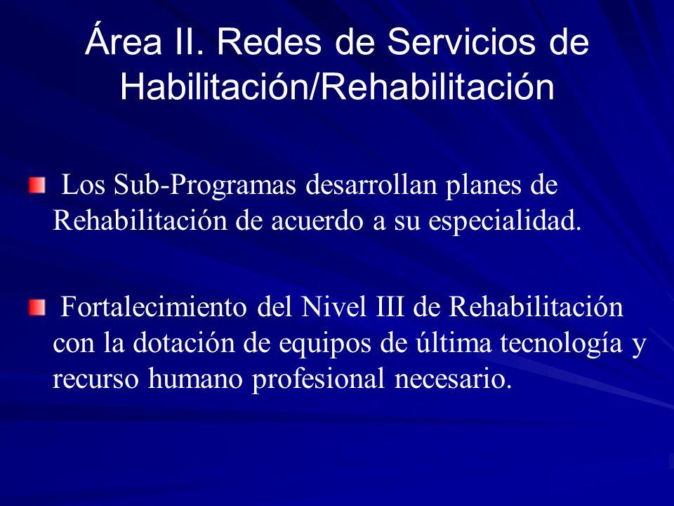 Área II. Redes de Servicios de Habilitación/Rehabilitación Los Sub-Programas desarrollan planes de Rehabilitación de acuerdo a su especialidad. Fortal