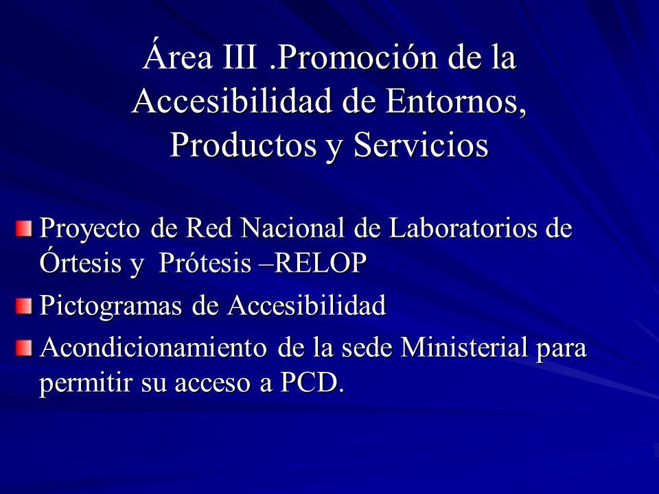 Promoción de la Accesibilidad de Entornos, Productos y Servicios Área III.Promoción de la Accesibilidad de Entornos, Productos y Servicios Proyecto de