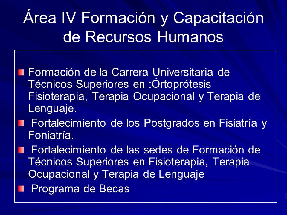 Área IV Formación y Capacitación de Recursos Humanos Formación de la Carrera Universitaria de Técnicos Superiores en :Órtoprótesis Fisioterapia, Terap