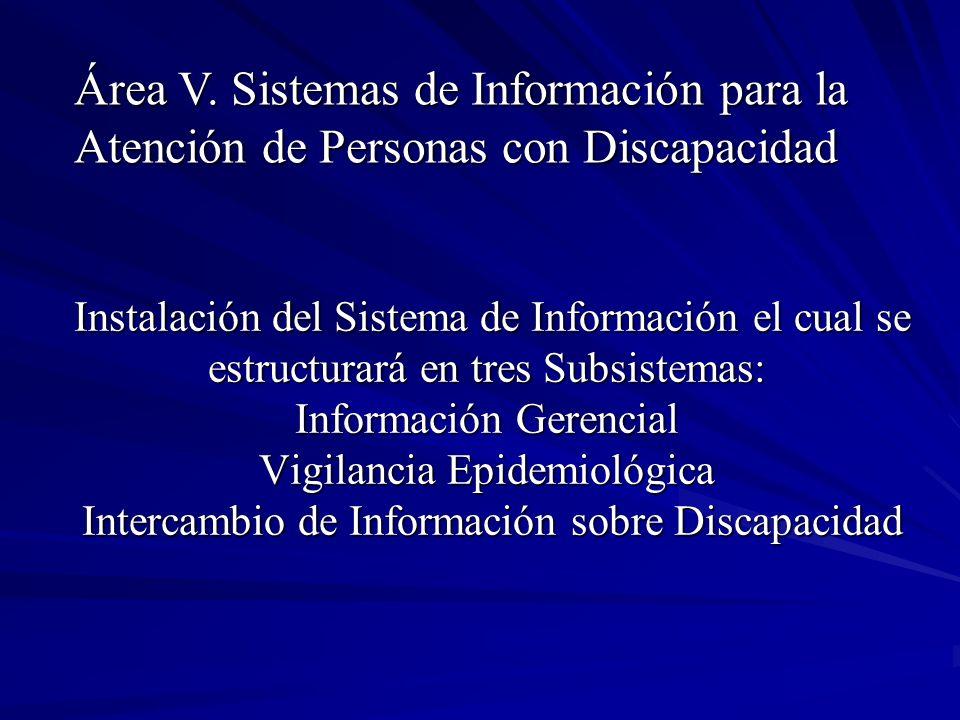 Instalación del Sistema de Información el cual se estructurará en tres Subsistemas: Información Gerencial Vigilancia Epidemiológica Intercambio de Inf