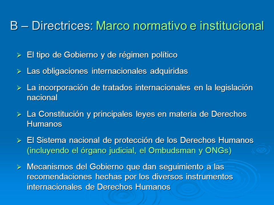 B – Directrices: Marco normativo e institucional El tipo de Gobierno y de régimen político El tipo de Gobierno y de régimen político Las obligaciones