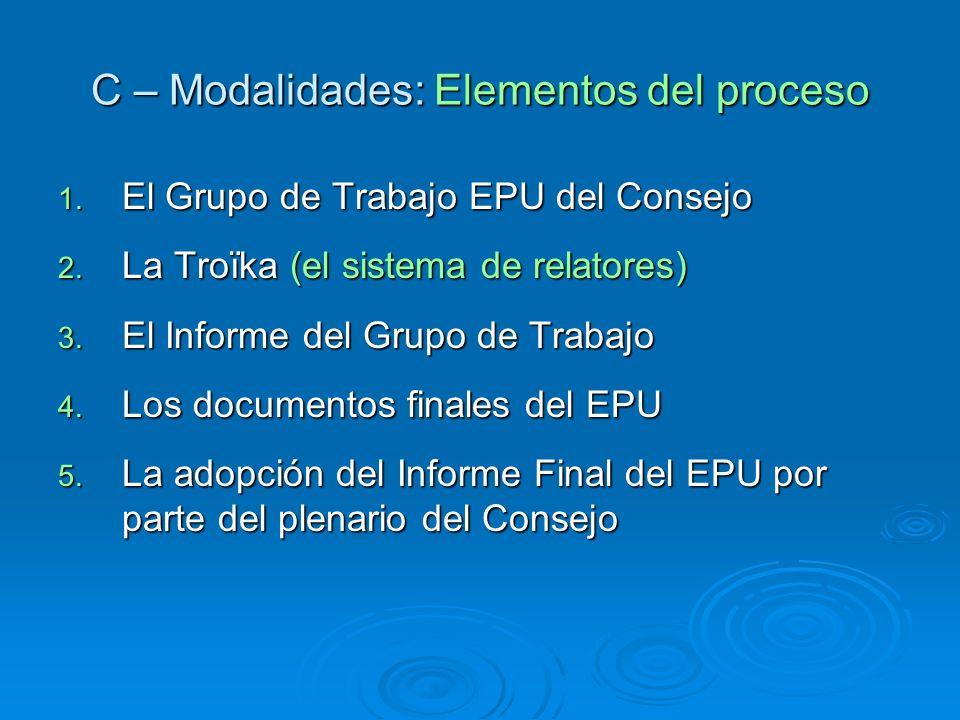 C – Modalidades: Elementos del proceso 1. El Grupo de Trabajo EPU del Consejo 2. La Troïka (el sistema de relatores) 3. El Informe del Grupo de Trabaj