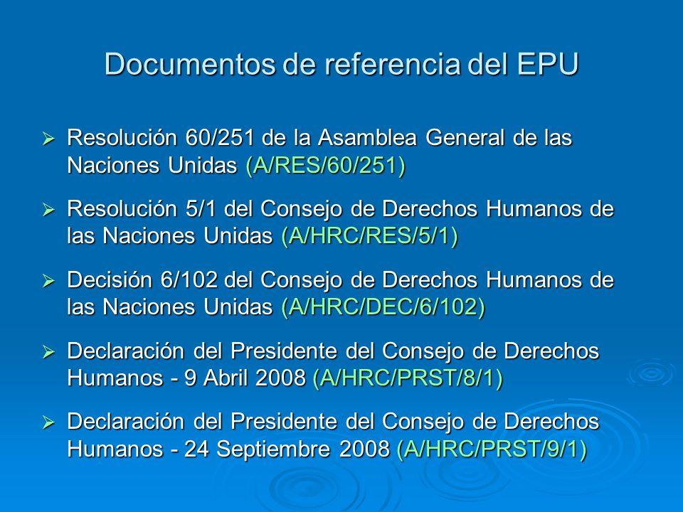 Documentos de referencia del EPU Resolución 60/251 de la Asamblea General de las Naciones Unidas (A/RES/60/251) Resolución 60/251 de la Asamblea Gener