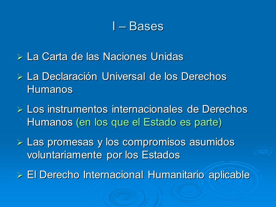I – Bases La Carta de las Naciones Unidas La Carta de las Naciones Unidas La Declaración Universal de los Derechos Humanos La Declaración Universal de
