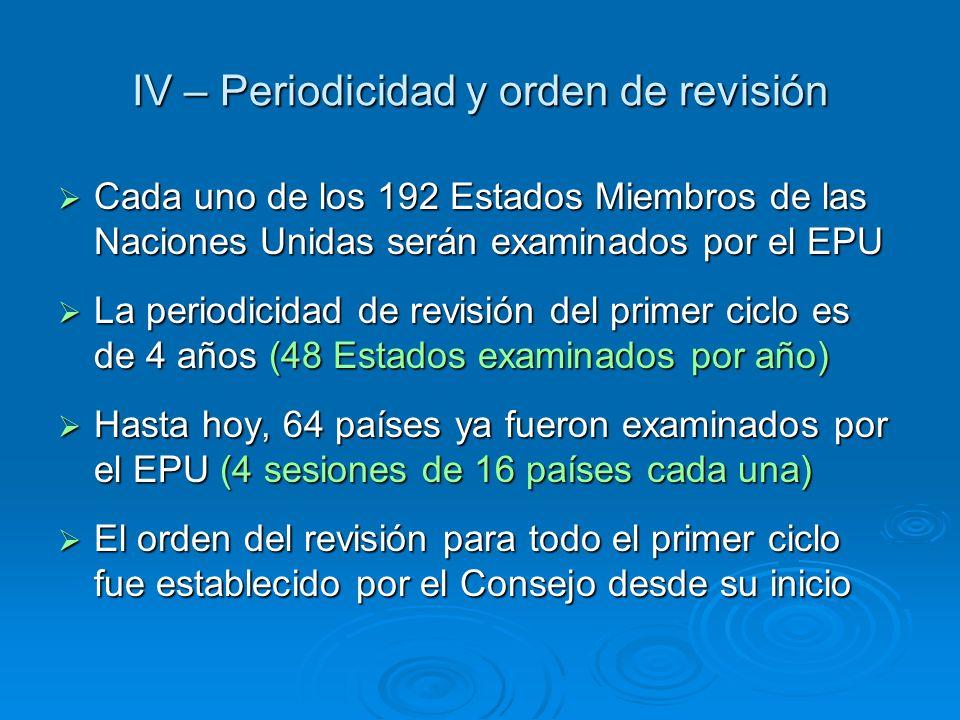 IV – Periodicidad y orden de revisión Cada uno de los 192 Estados Miembros de las Naciones Unidas serán examinados por el EPU Cada uno de los 192 Esta