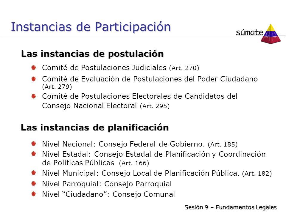 Instancias de Participación Nivel Nacional: Consejo Federal de Gobierno. (Art. 185) Nivel Estadal: Consejo Estadal de Planificación y Coordinación de