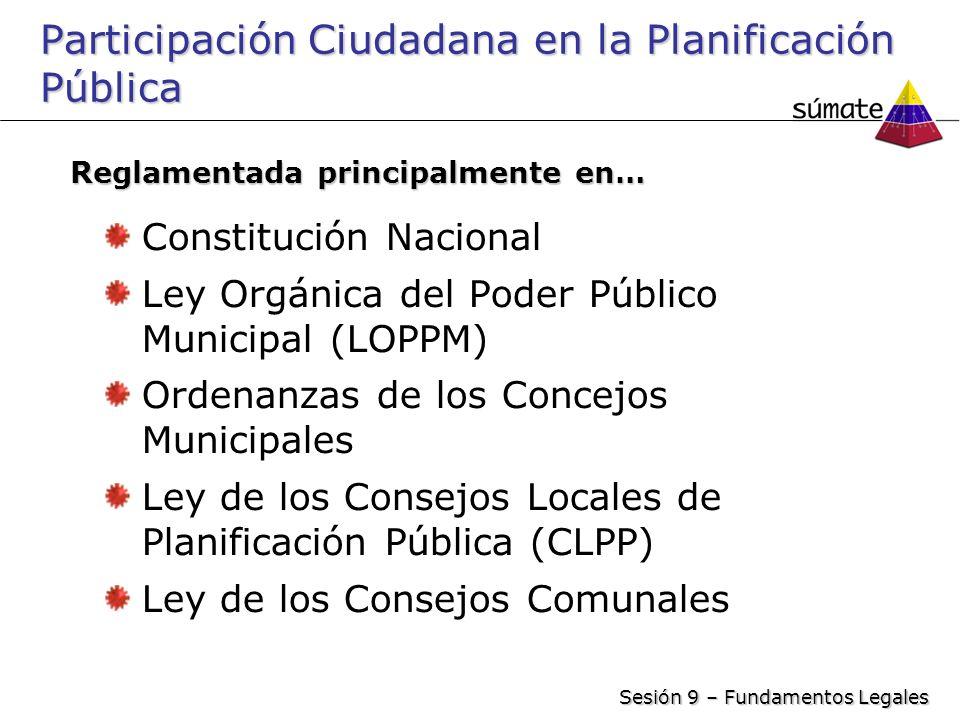Participación Ciudadana en la Planificación Pública Constitución Nacional Ley Orgánica del Poder Público Municipal (LOPPM) Ordenanzas de los Concejos