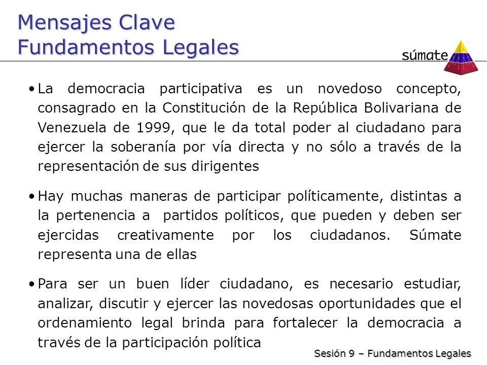Mensajes Clave Fundamentos Legales La democracia participativa es un novedoso concepto, consagrado en la Constitución de la República Bolivariana de V
