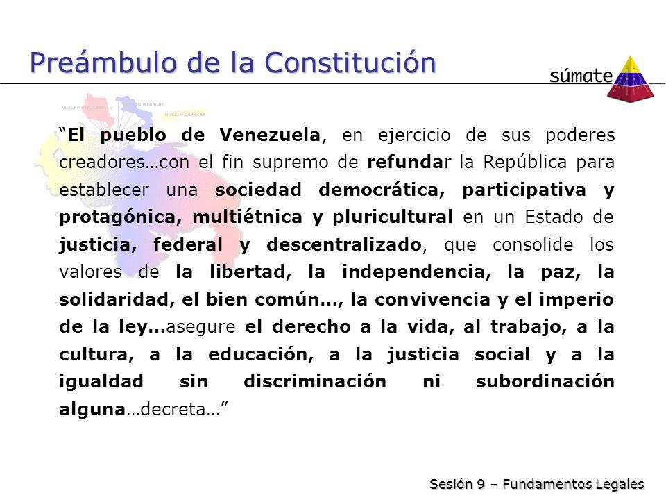 Preámbulo de la Constitución El pueblo de Venezuela, en ejercicio de sus poderes creadores…con el fin supremo de refundar la República para establecer