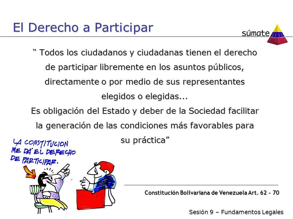 Alcance de la Participación La participación se relaciona con los tres momentos que caracterizan toda gestión públicaFormación Control Ejecución Sesión 9 – Fundamentos Legales