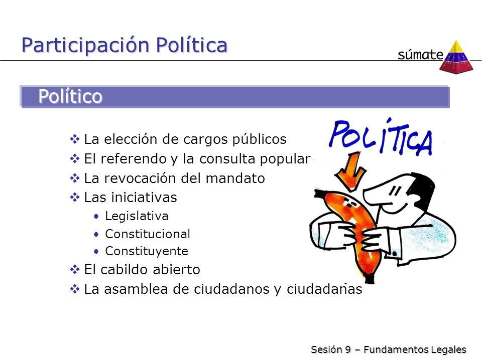 Participación Política La elección de cargos públicos El referendo y la consulta popular La revocación del mandato Las iniciativas Legislativa Constit