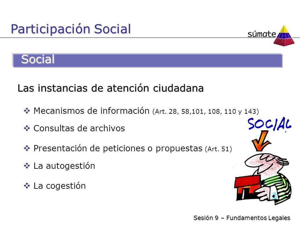 Social Las instancias de atención ciudadana Mecanismos de información (Art. 28, 58,101, 108, 110 y 143) Consultas de archivos Presentación de peticion