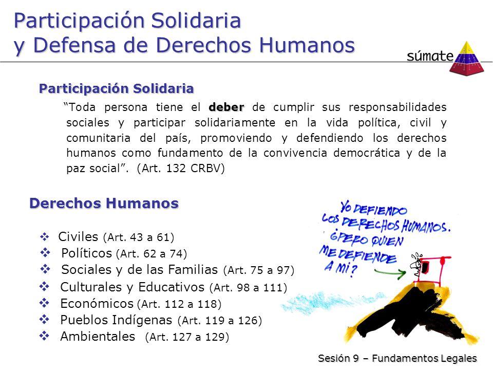 Participación Solidaria y Defensa de Derechos Humanos Participación Solidaria deber Toda persona tiene el deber de cumplir sus responsabilidades socia