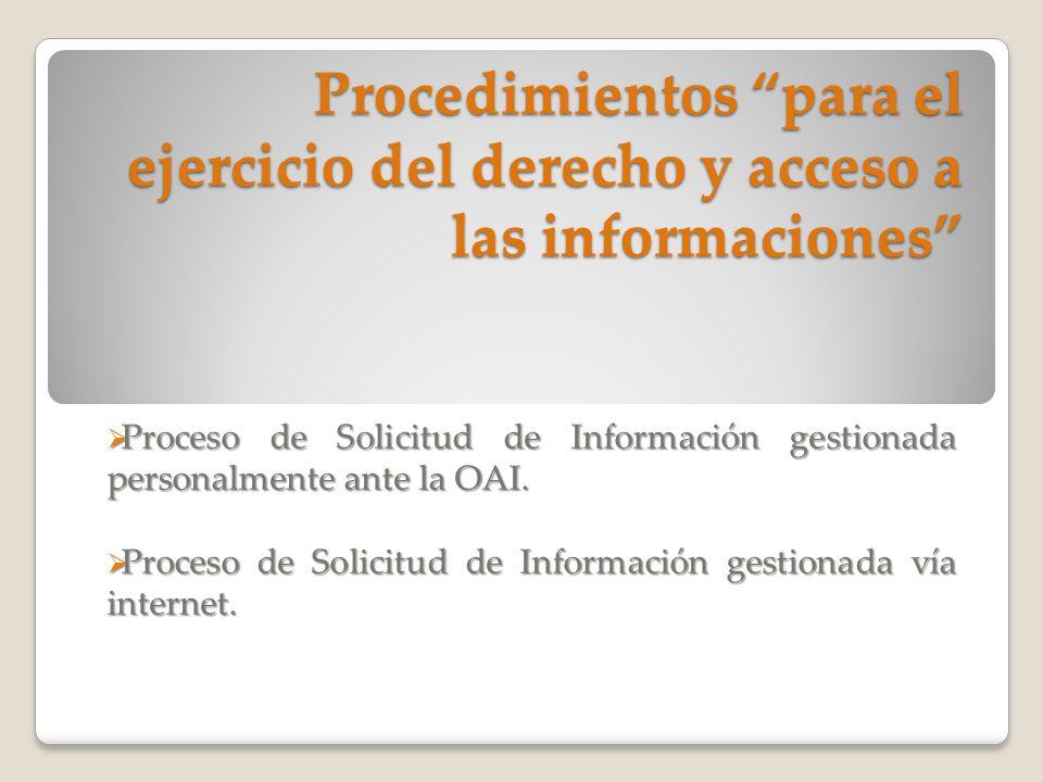 Procedimientos para el ejercicio del derecho y acceso a las informaciones Proceso de Solicitud de Información gestionada personalmente ante la OAI. Pr