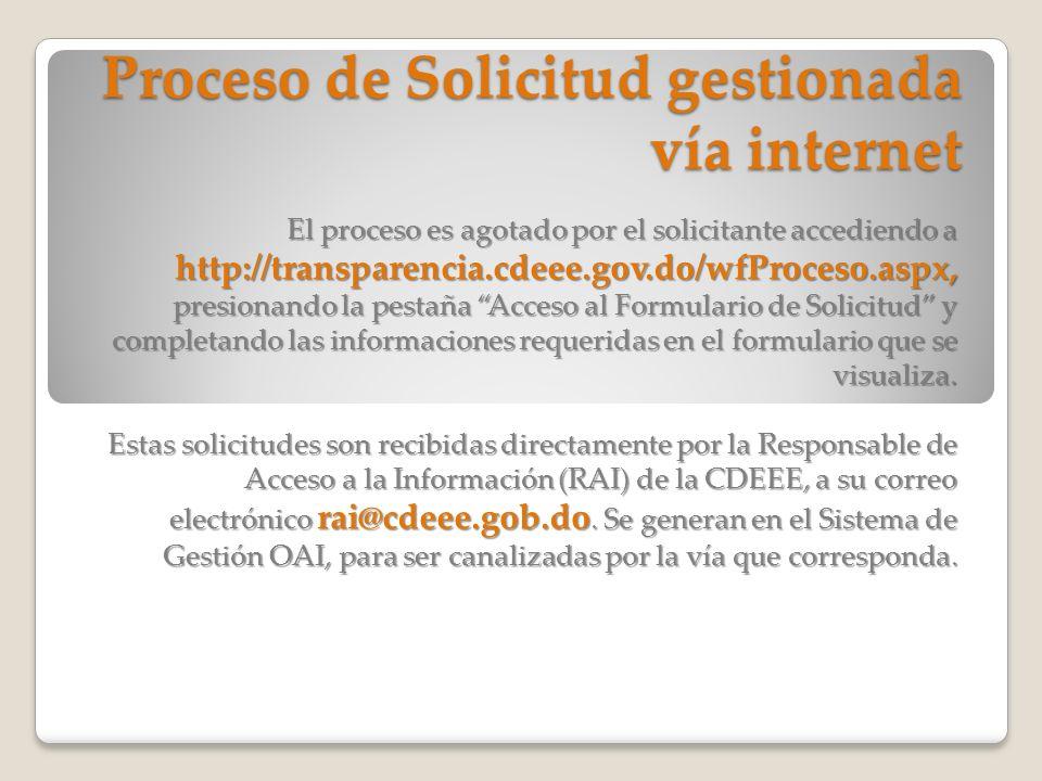 Proceso de Solicitud gestionada vía internet El proceso es agotado por el solicitante accediendo a http://transparencia.cdeee.gov.do/wfProceso.aspx, p
