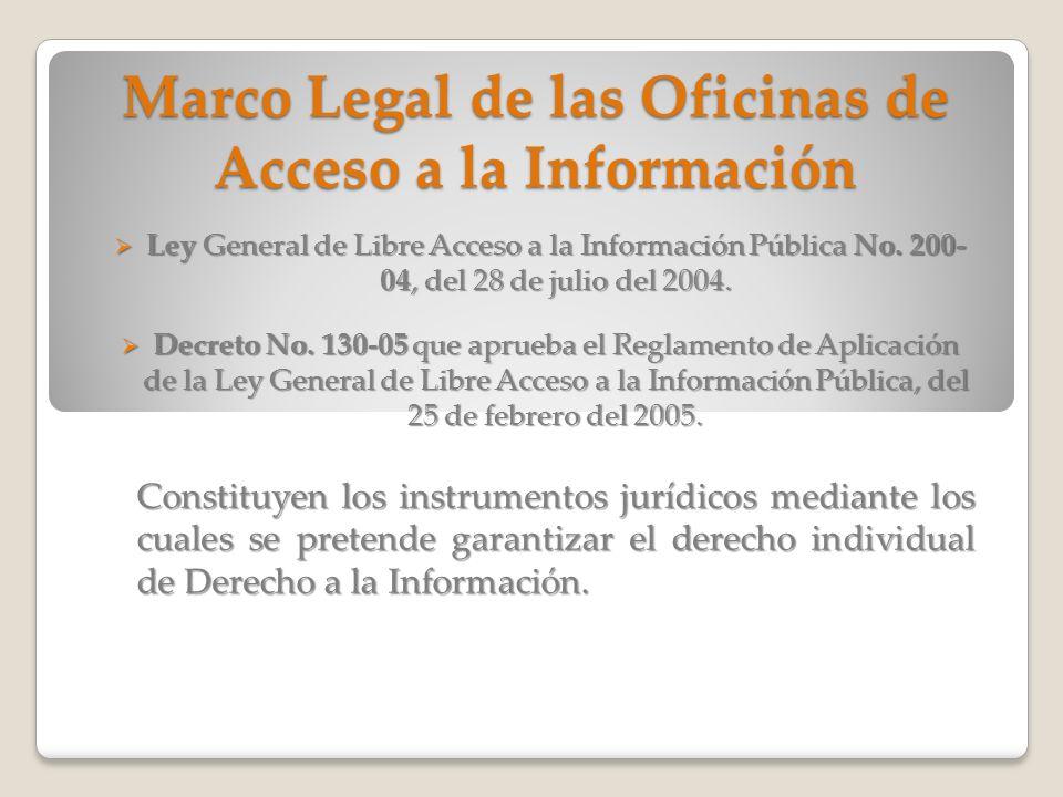 Marco Legal de las Oficinas de Acceso a la Información Ley General de Libre Acceso a la Información Pública No. 200- 04, del 28 de julio del 2004. Ley