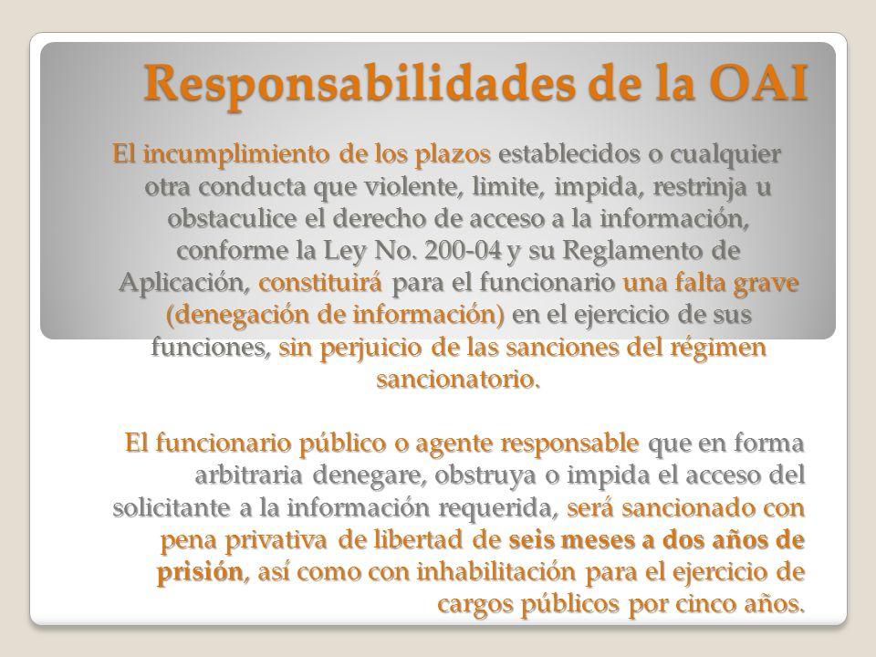 Responsabilidades de la OAI El incumplimiento de los plazos establecidos o cualquier otra conducta que violente, limite, impida, restrinja u obstaculi