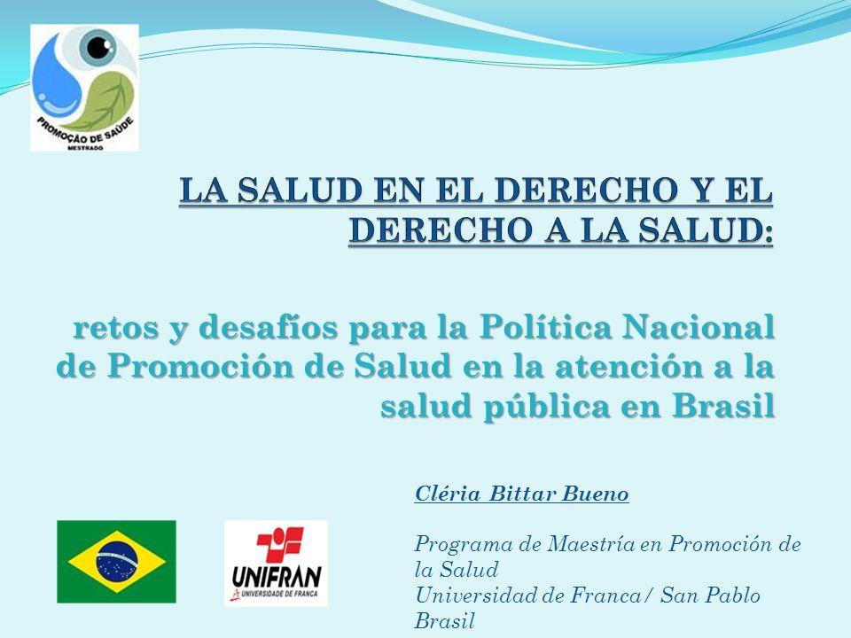 retos y desafíos para la Política Nacional de Promoción de Salud en la atención a la salud pública en Brasil Cléria Bittar Bueno Programa de Maestría
