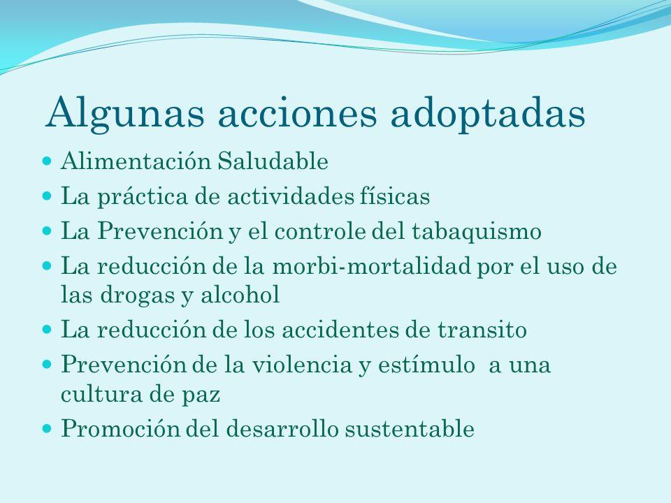 Algunas acciones adoptadas Alimentación Saludable La práctica de actividades físicas La Prevención y el controle del tabaquismo La reducción de la mor