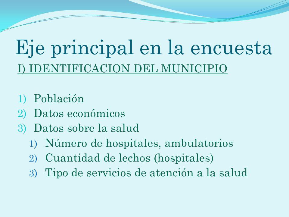 Eje principal en la encuesta I) IDENTIFICACION DEL MUNICIPIO 1) Población 2) Datos económicos 3) Datos sobre la salud 1) Número de hospitales, ambulat