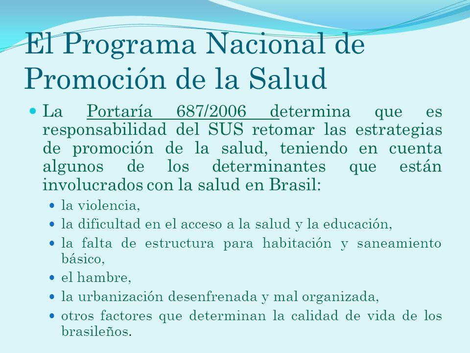 El Programa Nacional de Promoción de la Salud La Portaría 687/2006 determina que es responsabilidad del SUS retomar las estrategias de promoción de la