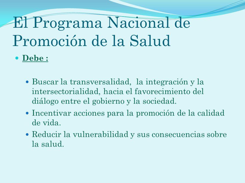 El Programa Nacional de Promoción de la Salud Debe : Buscar la transversalidad, la integración y la intersectorialidad, hacia el favorecimiento del di