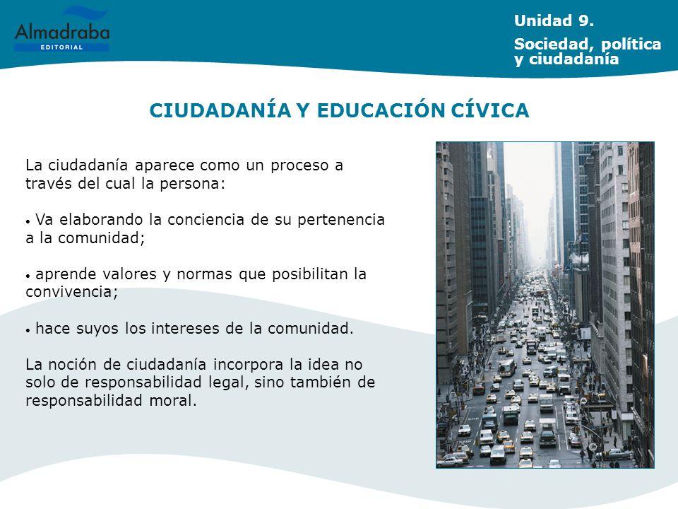 CIUDADANÍA Y EDUCACIÓN CÍVICA Unidad 9. Sociedad, política y ciudadanía La ciudadanía aparece como un proceso a través del cual la persona: Va elabora