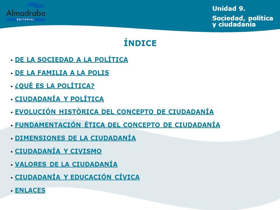 Unidad 9. Sociedad, política y ciudadanía DE LA SOCIEDAD A LA POLÍTICA DE LA SOCIEDAD A LA POLÍTICA DE LA FAMILIA A LA POLIS DE LA FAMILIA A LA POLIS