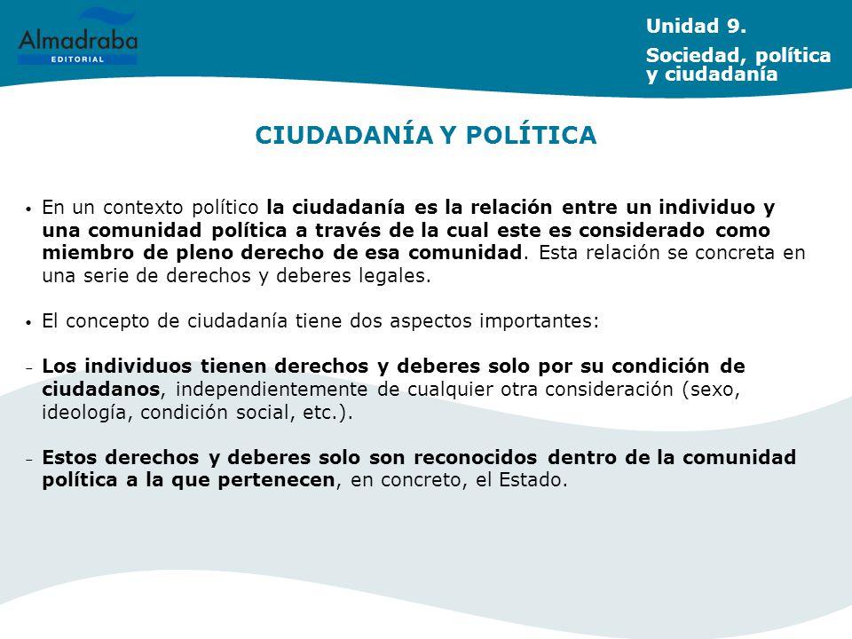 CIUDADANÍA Y POLÍTICA En un contexto político la ciudadanía es la relación entre un individuo y una comunidad política a través de la cual este es con