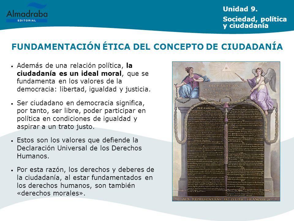 FUNDAMENTACIÓN ÉTICA DEL CONCEPTO DE CIUDADANÍA Además de una relación política, la ciudadanía es un ideal moral, que se fundamenta en los valores de