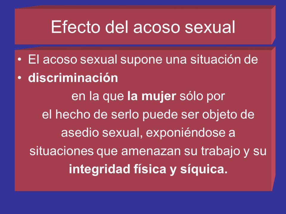 Acoso sexual por intimidación. El acoso sexual por intimidación puede consistir en invitaciones sexuales inoportunas, solicitudes indebidas u otras ma