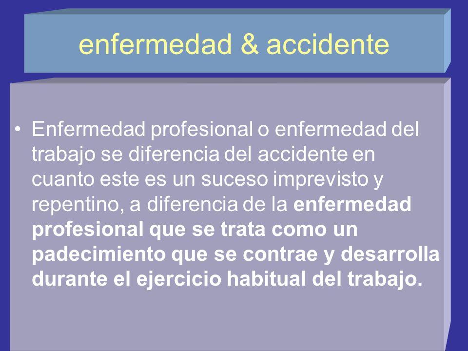 Relación enfermedad-trabajo La enfermedad profesional es consecuencia del género de trabajo que se desempeñe, existiendo una relación causal por lo me