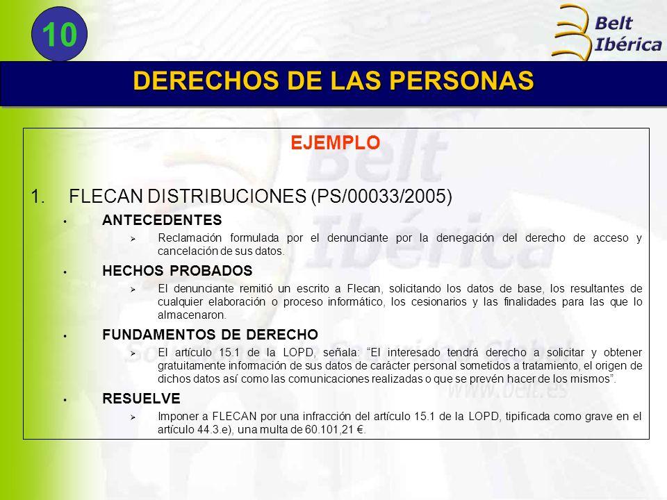 EJEMPLO 1.FLECAN DISTRIBUCIONES (PS/00033/2005) ANTECEDENTES Reclamación formulada por el denunciante por la denegación del derecho de acceso y cancel