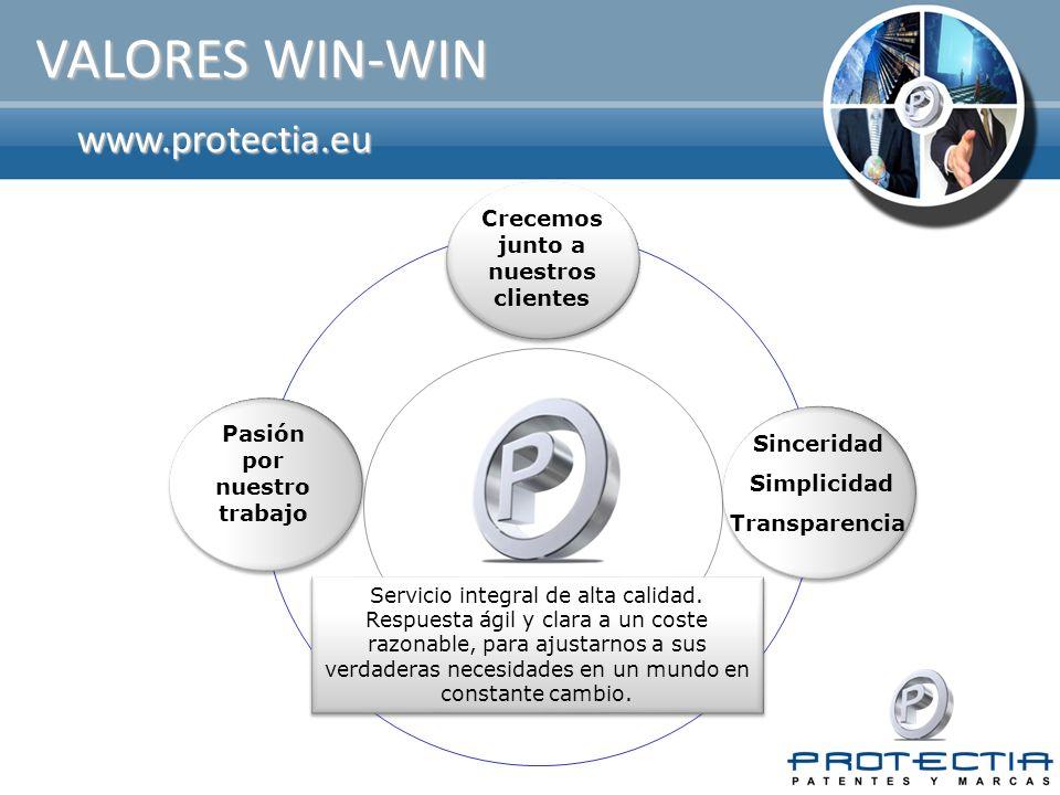 www.protectia.eu VALORES WIN-WIN Servicio integral de alta calidad. Respuesta ágil y clara a un coste razonable, para ajustarnos a sus verdaderas nece